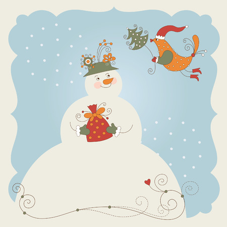Cute snowman with gift and little bird, christmas greeting card Vector