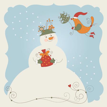 little bird: Mu�eco de nieve lindo regalo y pajarito, tarjeta de felicitaci�n de Navidad