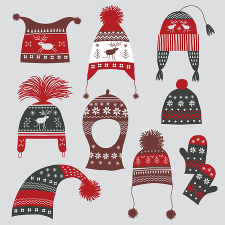 knitted: Winter hats with nordic ornament