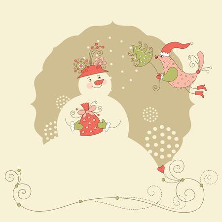 Snowman, Christmas greeting card Stock Vector - 8094441
