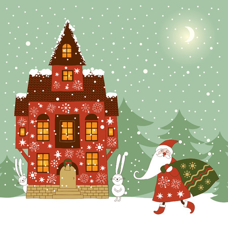 picture postcards:  christmas and new years card Illustration
