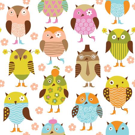 civetta bianca: Seamless pattern con uccelli carini
