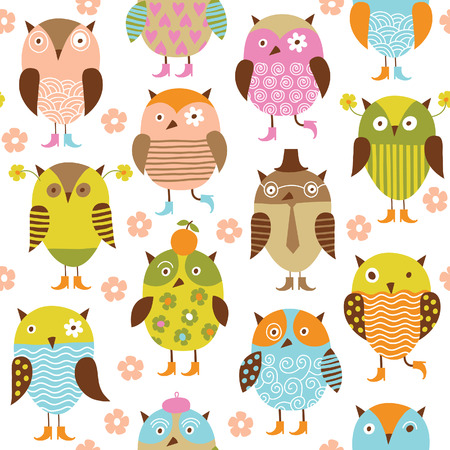 owl on branch: seamless pattern with cute birds