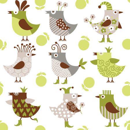 seamless pattern with cute birds Stock Vector - 8772006
