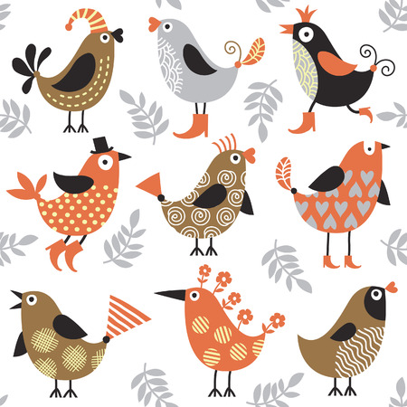 childishness: seamless pattern with cute birds