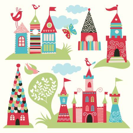fairy castles Vector