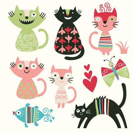 set of funny cats Stock Vector - 8902224