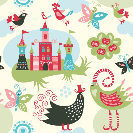 childishness: seamless pattern with fairy elements Illustration