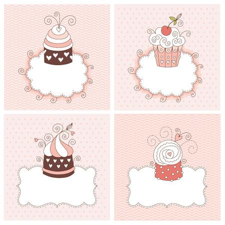 set of greeting cards Illustration