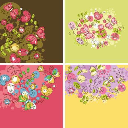 summery: set of floral backgrounds