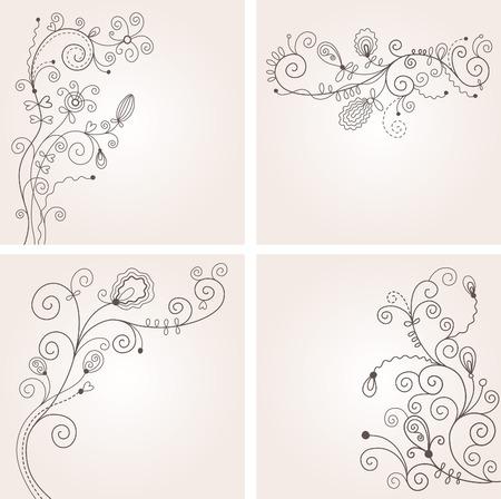 calligraphique: ensemble de d�cors floraux Illustration