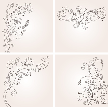 set of floral backgrounds Vector