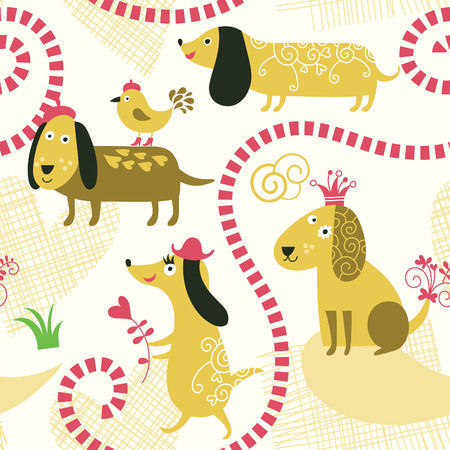 child and dog: seamless pattern with cute dogs