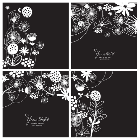 set of black-and-white floral backgrounds Vector
