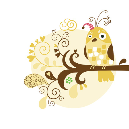 cute owl: Bird on branch