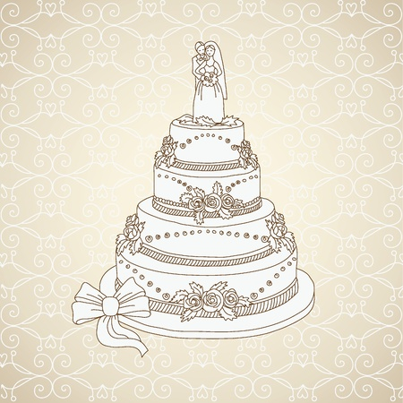 Wedding cake, greeting wedding card Vector