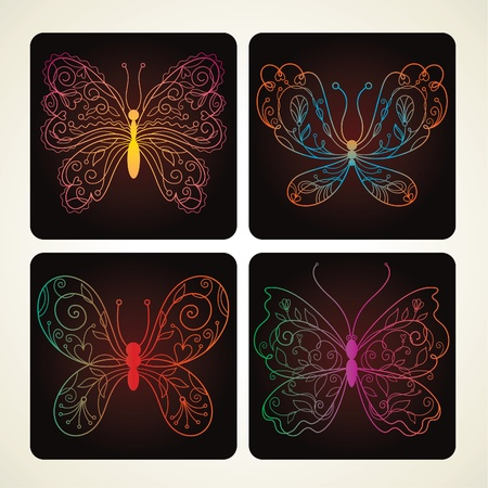 Set of Vector butterflies with floral elements Vector