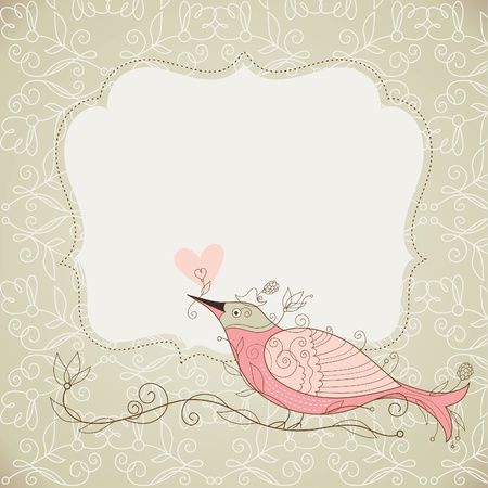 floral frame: Vector frame and bird with floral elements