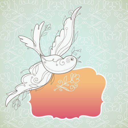 Vector Bird with floral elements and frame for your text Stock Vector - 9482248