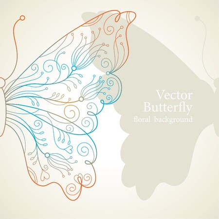 butterflies and flowers: Vector butterfly Illustration
