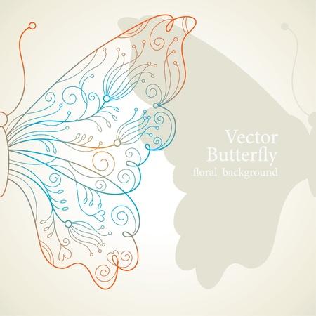 animal border: Vector butterfly Illustration