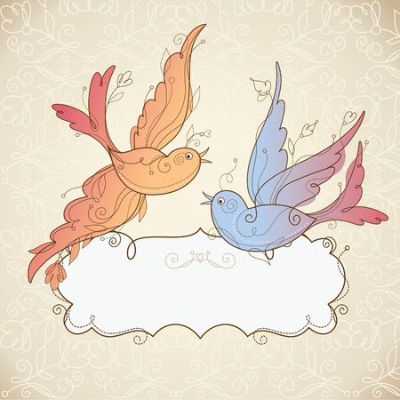 postcard vintage: Vector Birds  and frame for your text