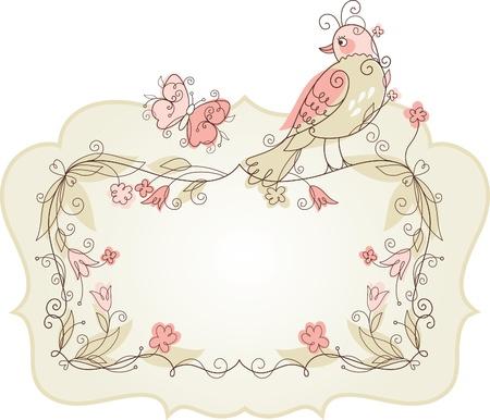 verjaardag frame: Vector vogel en frame voor uw tekst