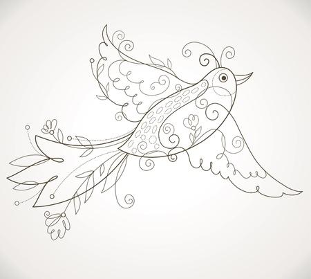 foliate: Vector Bird Illustration
