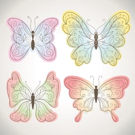 Satz von Vector Schmetterlinge with floral elements