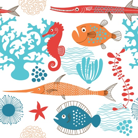 coral: seamless pattern with fishes  Illustration