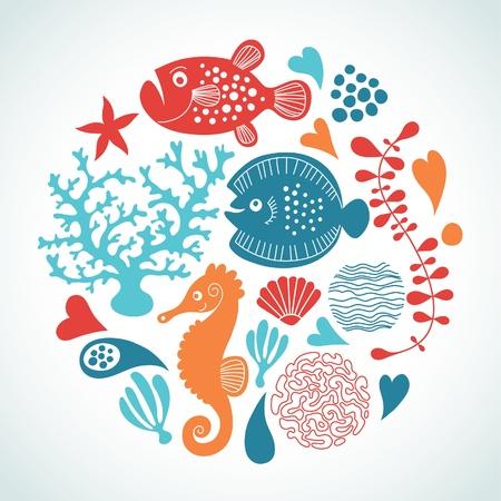 fische: Meereslebewesen Illustration