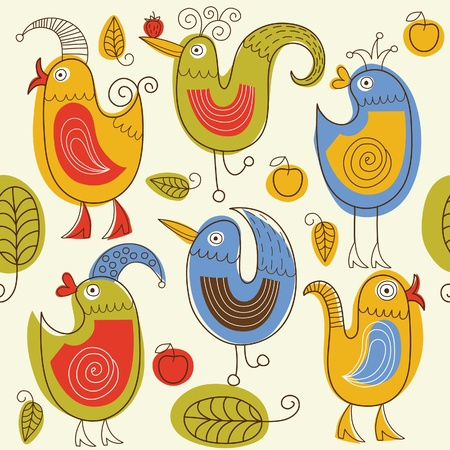 parrot tail: pattern with birds  Illustration