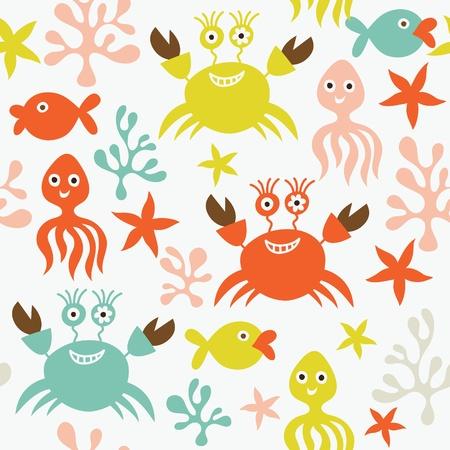 seestern: nahtlose Muster mit Unterwasserwelt  Illustration