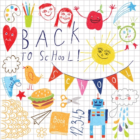 scribble: back to school vector background  Illustration