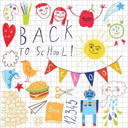 ink pen: back to school vector background  Illustration