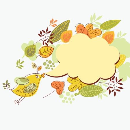 october: autumn background , cartoon bird and speech bubble  Illustration