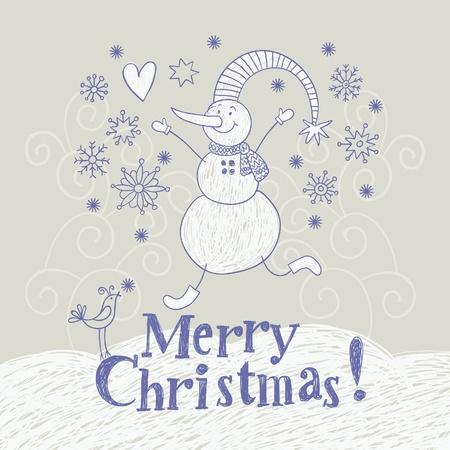 Christmas card, hand drawing illustration Vector