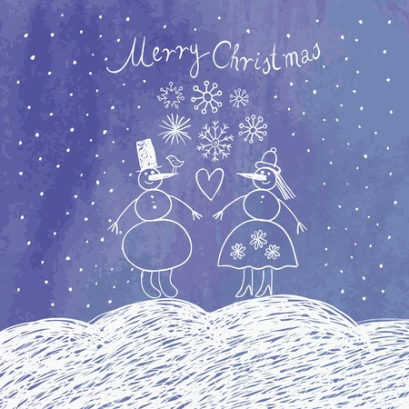 two snowmans, Christmas card Stock Vector - 10346803