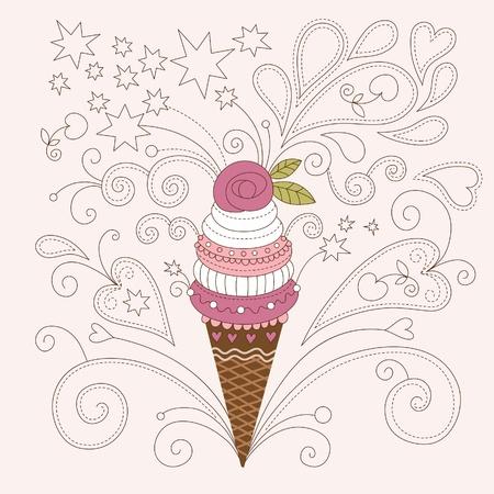 child ice cream: beauty illustration of ice-cream