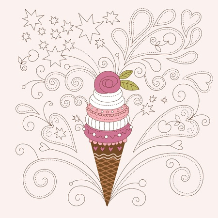 helado caricatura: Ilustración de belleza de helado