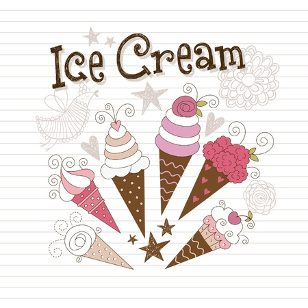 enchanting: beauty illustration of ice-cream