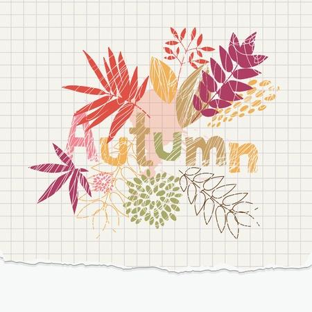 autumn illustration on the notepaper  Vector