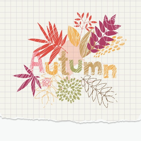 yellow notebook: autumn illustration on the notepaper  Illustration