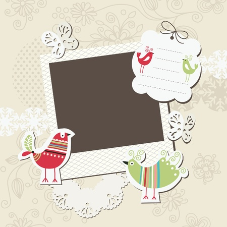 scrapbook frame: Digital scrapbook elements with place for your text