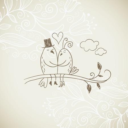 duif tekening: Romantische illustratie Stock Illustratie
