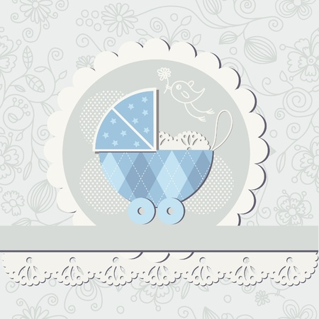 Baby boy arrival announcement card, scrapbook elements  Vector