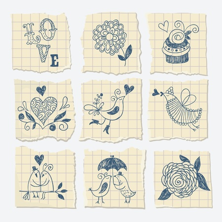 set free: hand-draw elements on the scrap of paper Illustration