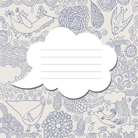 whimsy: speech bubble on hand drawn background