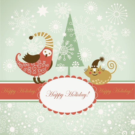 Christmas card with cute bird and cat Stock Vector - 10570600