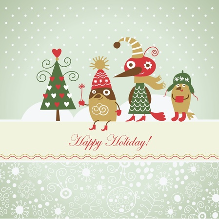 personages: Christmas card with cute birds